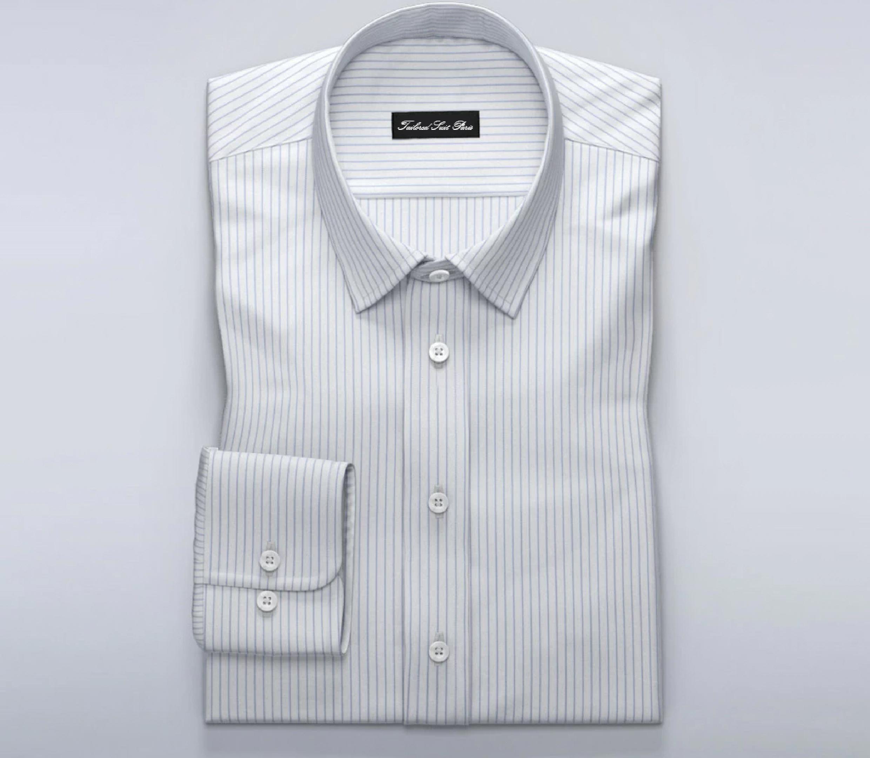 COTTON STRIPE SHIRTING-WHITE//BLUE-DRESS FABRIC-FREE P/&P